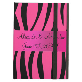 Pink zebra stripes wedding favors iPad air covers