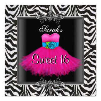 Pink Zebra  Sweet Sixteen 16 Birthday Black Dress Personalized Invites