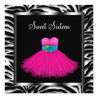 Pink Zebra Sweet Sixteen Birthday Party 13 Cm X 13 Cm Square Invitation Card