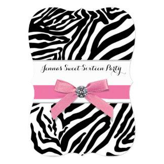 Pink Zebra Sweet Sixteen Birthday Party Card