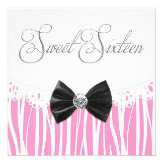 Pink Zebra Sweet Sixteen Birthday Party Invitation