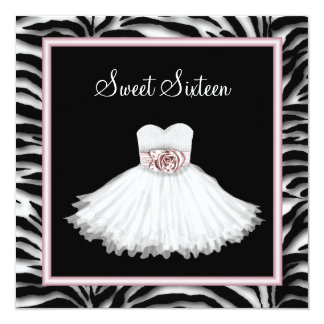 Pink Zebra Sweet Sixteen Birthday Party 13 Cm X 13 Cm Square Invitation Card