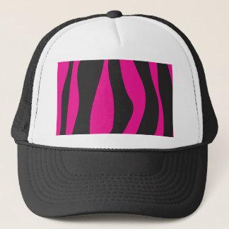 Pink zebra trucker hat