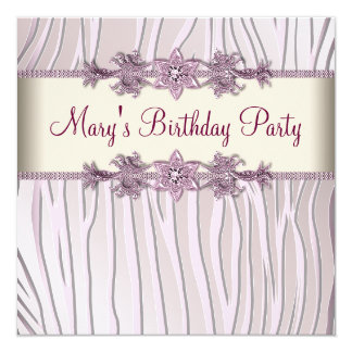 Pink Zebra Womans Birthday Party 13 Cm X 13 Cm Square Invitation Card