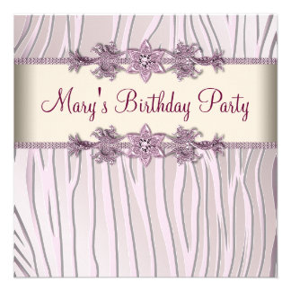 Pink Zebra Womans Birthday Party Announcements