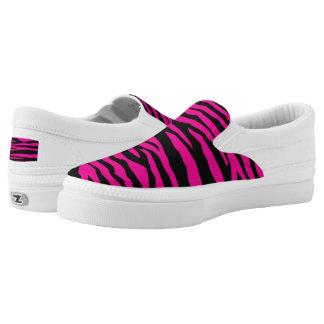Pink Zebra-Women or Men Slip-On Printed Shoes