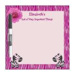 Pink Zebras & Animal Print Dry Erase Board