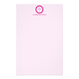 Pink Zig-Zag Cross on Hot Pink and White Customized Stationery
