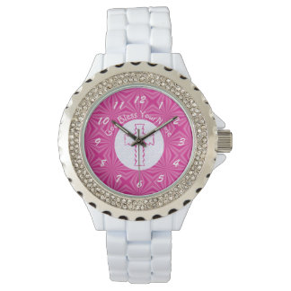 Pink Zig Zag Cross on White and Bright Pink Watch