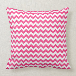 Pink Zig Zag Faux Glitter Abstract Pillow