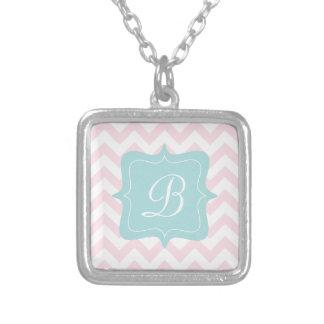 Pink Zigzag Monogram Square Pendant Necklace