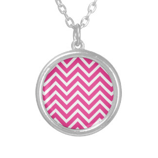 Pink Zigzag pattern Silver Plated Necklace