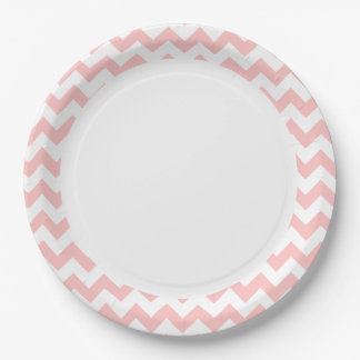 Pink Zigzag Stripes Chevron Pattern Girly 9 Inch Paper Plate