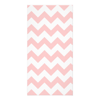 Pink Zigzag Stripes Chevron Pattern Girly Photo Card