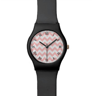 Pink Zigzag Stripes Chevron Pattern Girly Wristwatches