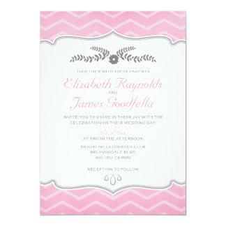 Pink Zigzag Wedding Invitations