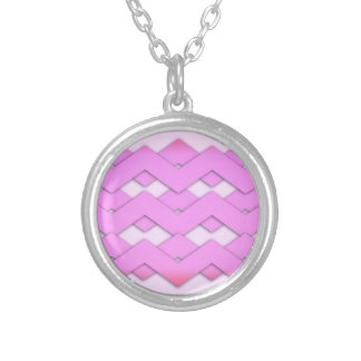 Pink Zigzags Round Pendant Necklace