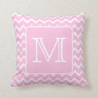 Pink Zigzags with Custom Monogram. Cushion
