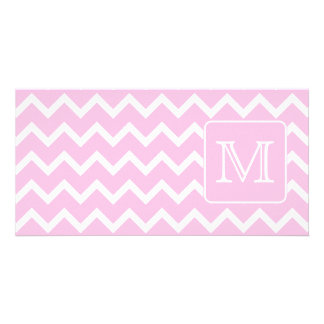 Pink Zigzags with Custom Monogram. Photo Greeting Card