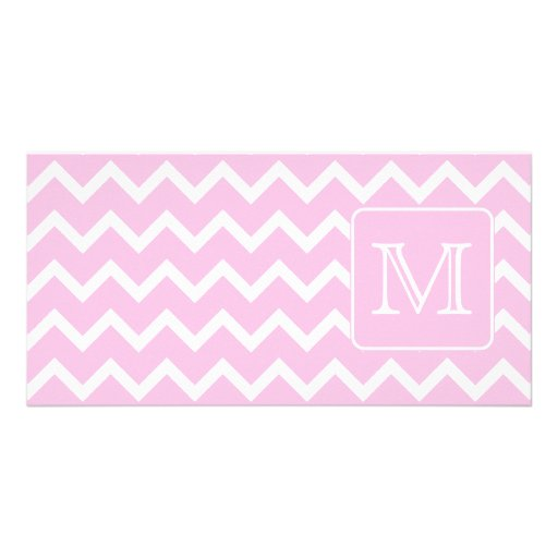 Pink Zigzags with Custom Monogram. Personalized Photo Card