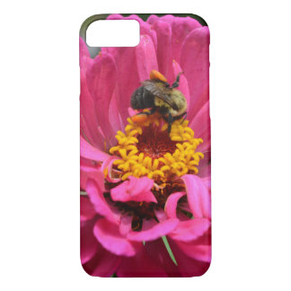 Pink Zinnia and bumblebee iPhone 8/7 Case