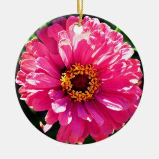 Pink Zinnia Ceramic Ornament