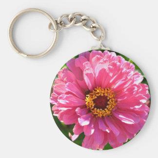 Pink Zinnia Key Ring