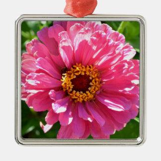 Pink Zinnia Metal Ornament