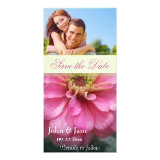 """Pink Zinnia/photo  """"Save the Date"""" Personalised Photo Card"""