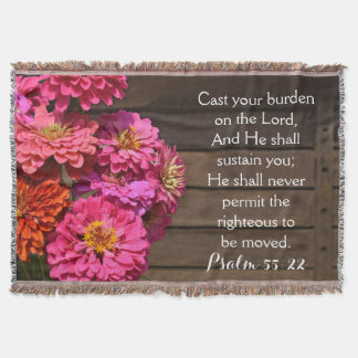 Pink Zinnia Psalm Bible Cast Your Burden Christian Throw Blanket