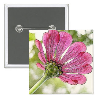 Pink Zinnia reaching for the sky Pinback Button