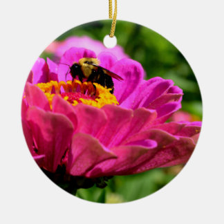 Pink Zinnia with bumble bee Ceramic Ornament