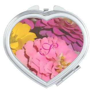Pink Zinnias Monogrammed Compact Mirror
