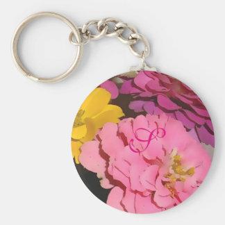 Pink Zinnias Monogrammed Keychain
