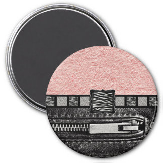 Pink Zipper Zebra Metal Monogram 3 Inch Round Magnet