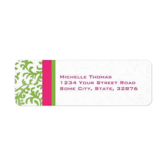 Pinka nd Green Damask Return Address Return Address Label