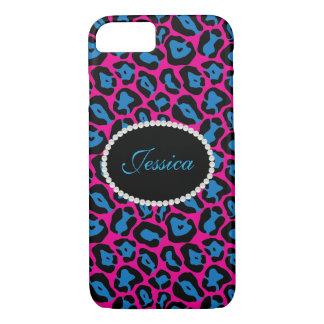 PinkBlue Leopard Print Monogram Phone & Ipad Case