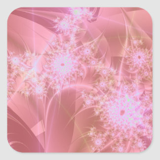 Pinkee Fractal Artwork Square Stickers