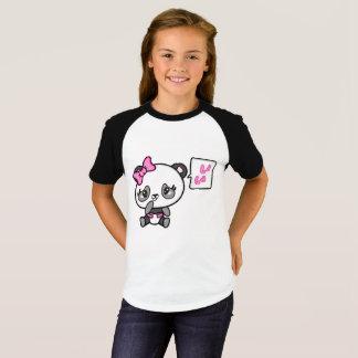 Pinkie Pinky Panda Girls Short Raglan T-shirt