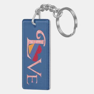 Pinkish Armenian LOVE on Blue Key Ring