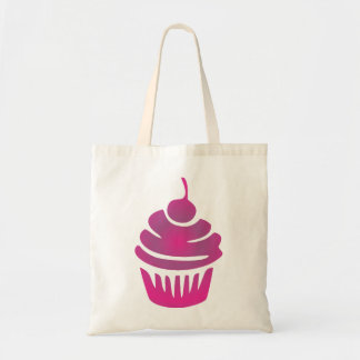 Pinkish Purple Cupcake With A Cherry On Top Budget Tote Bag
