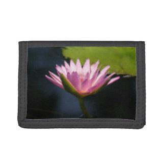 Pinkish Purple Lotus Waterlilies Tri-fold Wallet