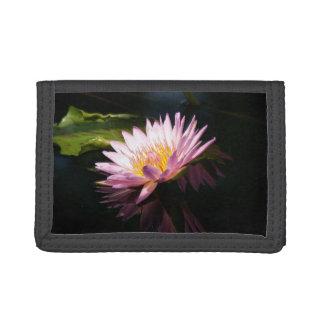 Pinkish Purple Lotus Waterlilies Trifold Wallet