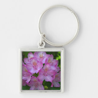 Pinkish purple Rhododendron Catawbiense Silver-Colored Square Key Ring