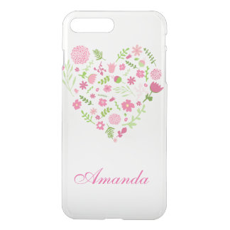 Pinks and green flower heart transparent iPhone 7 plus case