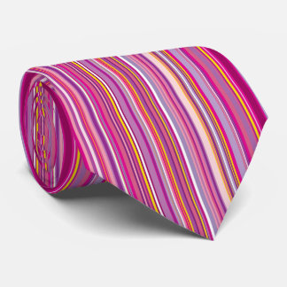 Pinks and Purples in Vertical Stripes Necktie