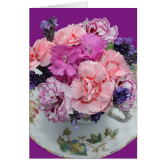Pinks carnations in teacup card