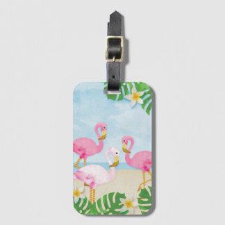 Pinks Flamingos on the Beach Luggage Tag