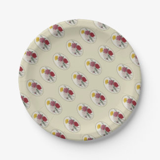 Pinks In A Classic Oval Mount 7 Inch Paper Plate