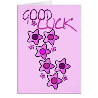 Pinks & purple flowers good luck wishing you best greeting card